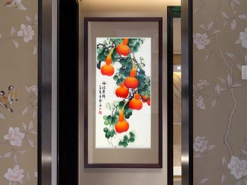 手工刺绣新中式刺绣装饰画福禄连绵