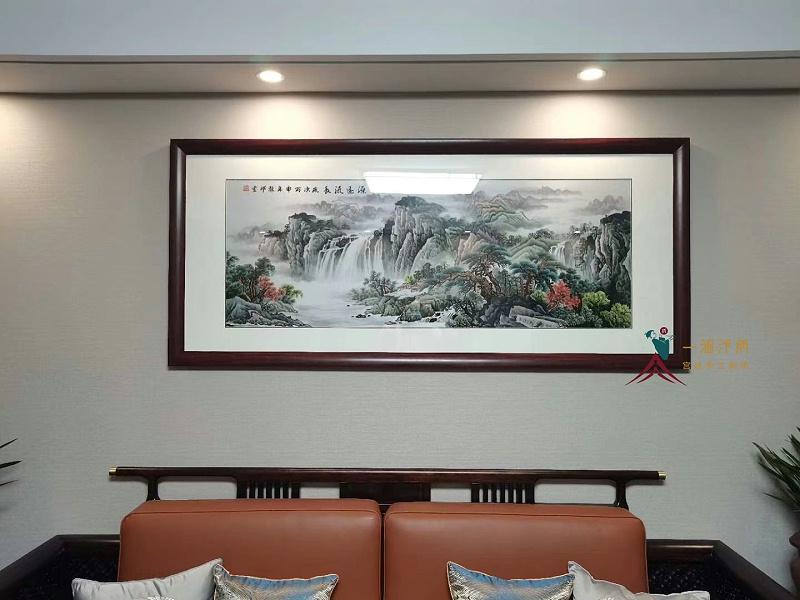 沙发背景墙装饰画 刺绣山水画