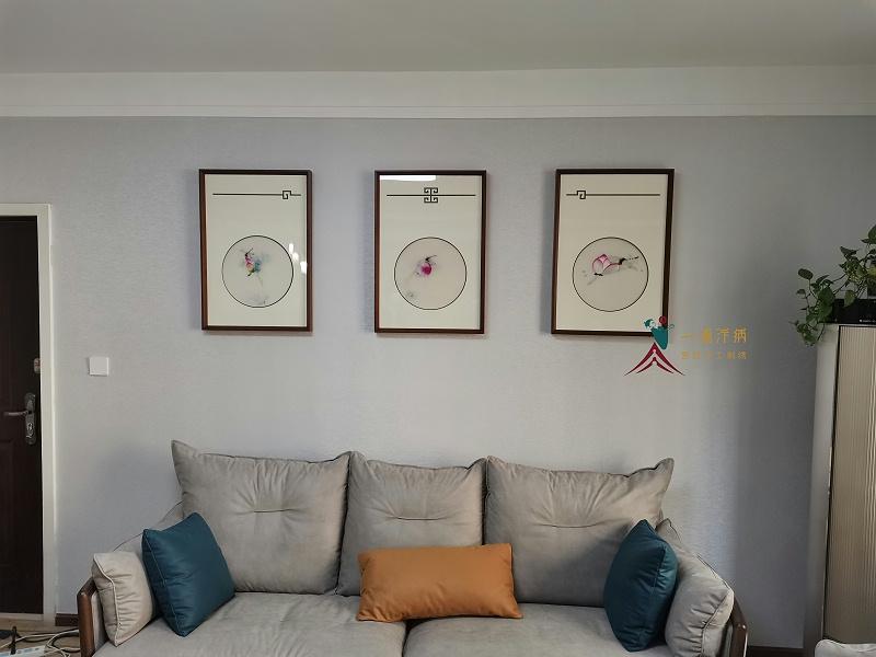 沙发背景墙装饰画 刺绣三联画
