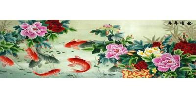 客厅装饰画:刺绣富贵有鱼装饰画