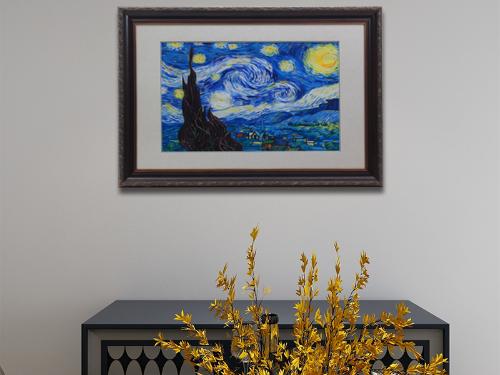 客厅装饰画 手工刺绣星空图