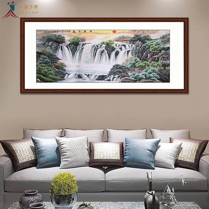 新房客厅挂什么画好 一涵汴绣山水画 源远流长