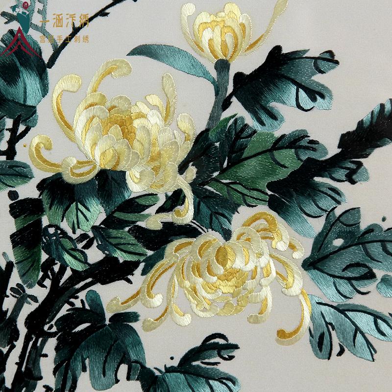 刺绣菊花细节图