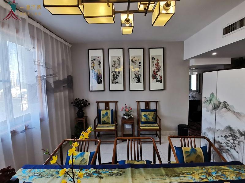 茶室挂画:刺绣梅兰竹菊四条屏