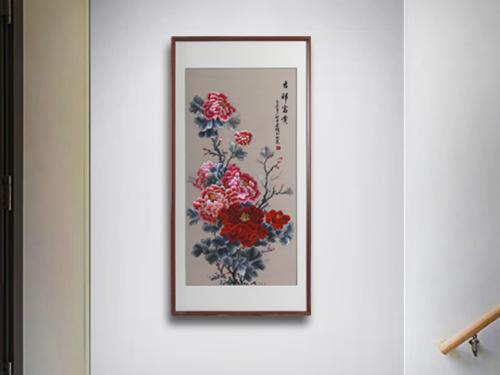 餐厅走廊装饰画 刺绣吉祥富贵牡丹图