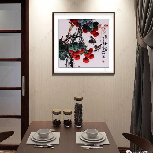 餐厅果蔬装饰画,手工刺绣更精致
