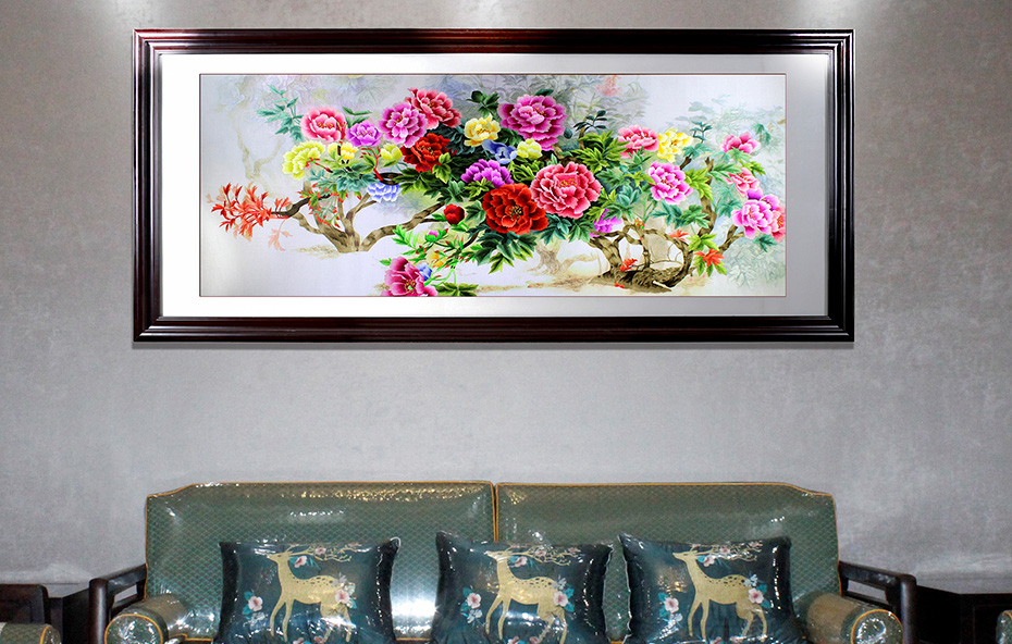 家装挂画 盛世之花 春满人间刺绣画