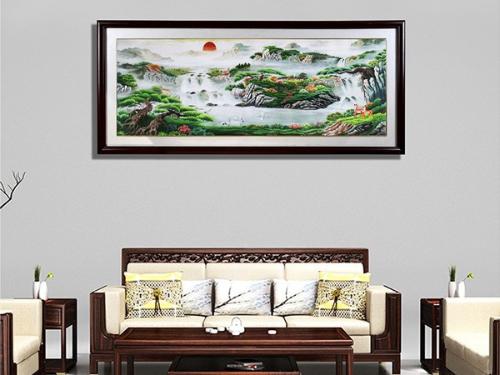 客厅装饰画 刺绣聚宝盆山水画