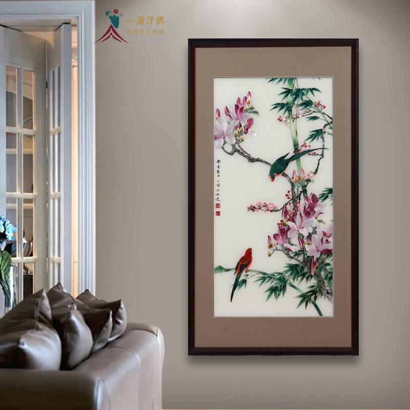 走廊玄关装饰画 刺绣花鸟图