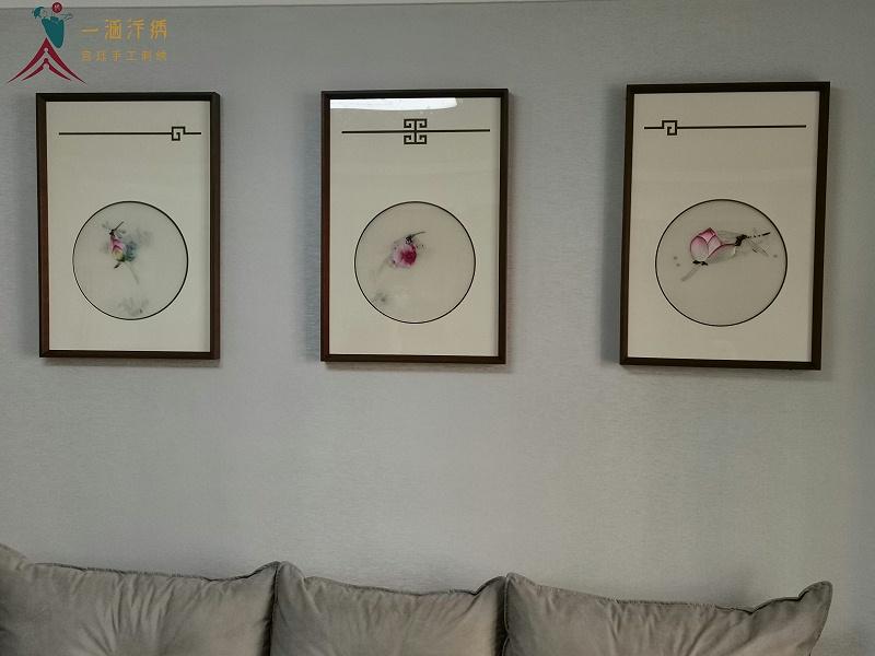 客厅挂画 刺绣荷花三联屏