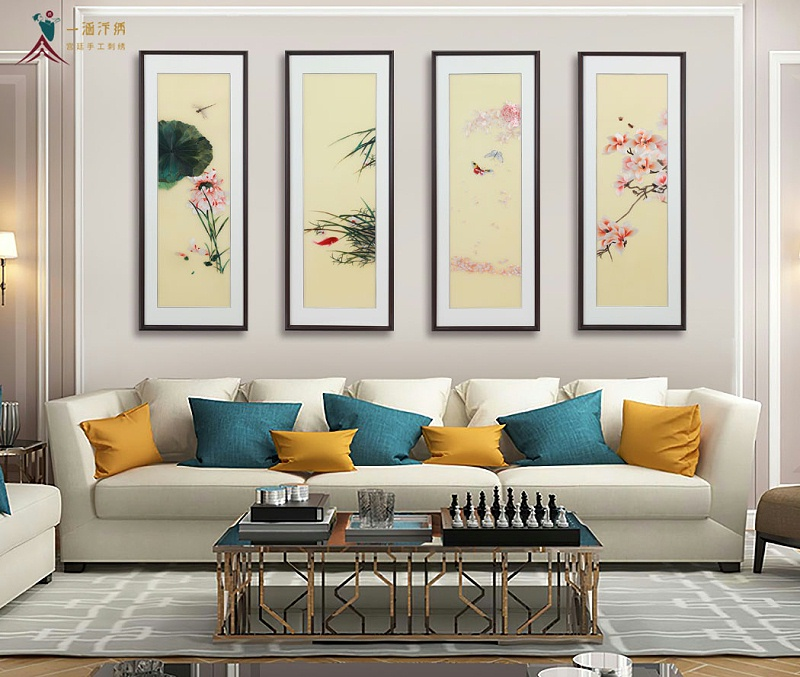 客厅装饰画 刺绣花卉四联屏