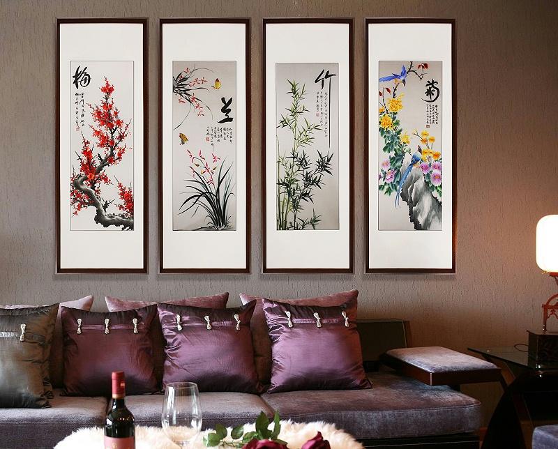 沙发背景墙装饰画 梅兰竹菊
