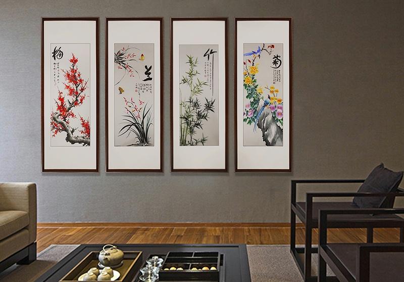办公室装饰画 刺绣梅兰竹菊四条屏