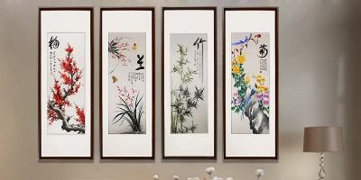 客厅挂梅兰竹菊四扇屏的讲究