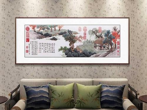 书房装饰画 刺绣盆菊图
