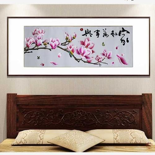 卧室装饰画 刺绣玉兰图