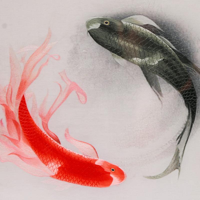 刺绣太极鱼细节图
